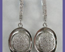 MODERN DESIGN-STERLING SILVER OVAL EARRINGS PAVE SET WITH CZ